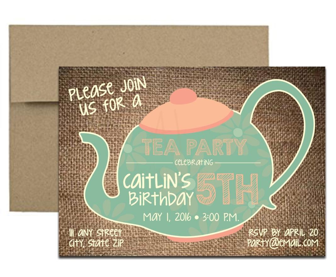 Burlap tea party birthday invite envelopes burlap tea party invitation with envelopes printed birthday invites and color envelopes custom colors stopboris Images