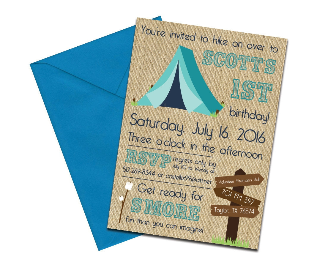 Burlap Camping Themed Party Invite + Envelopes -