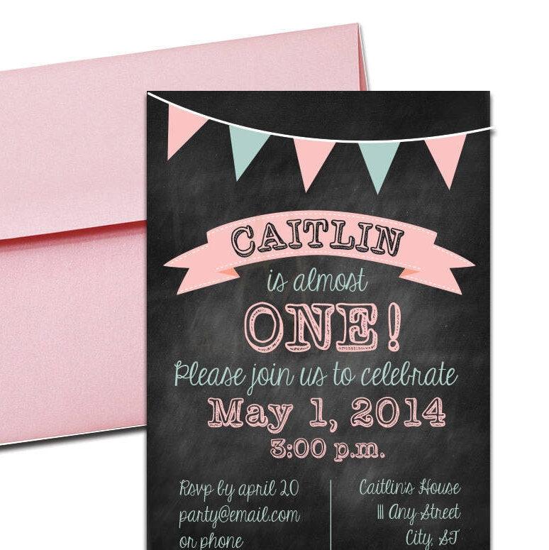 Pink Chalkboard Party Invite + Envelopes -