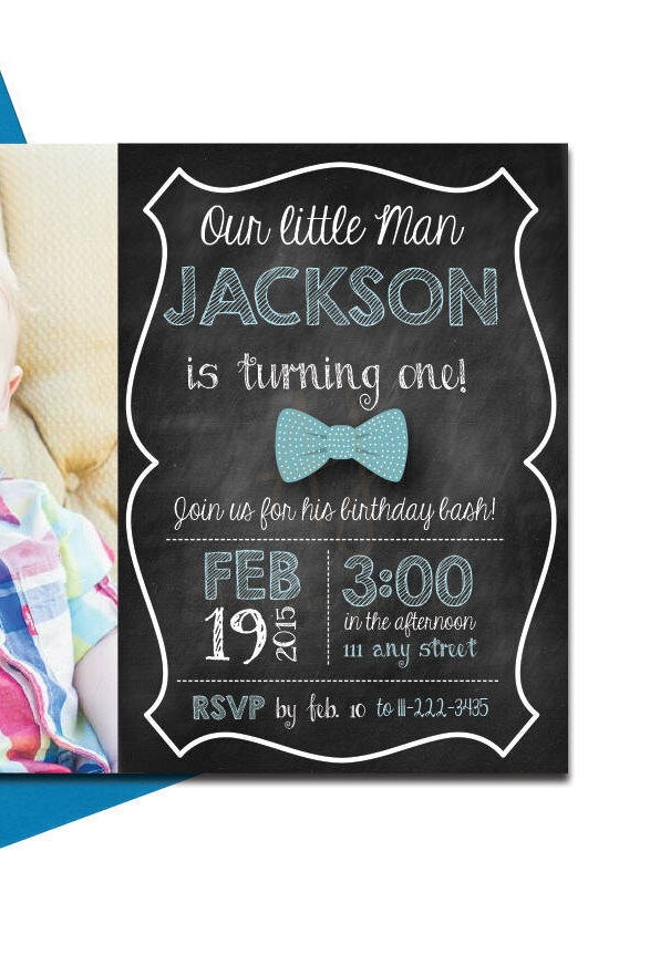 Bow Tie Invite with Chalkboard Back + Envelopes -