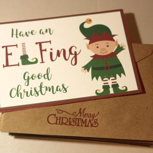 Christmas Card with Elf | Have an Elfing Good Christmas | Merry Christmas Card | Set of 10 Cards & Envelopes