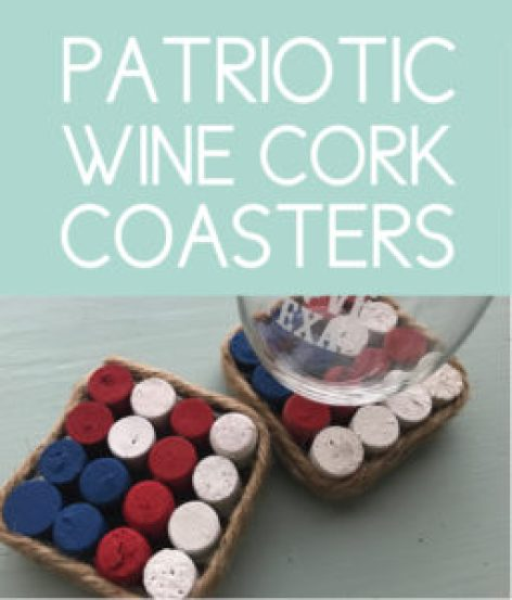 Patriotic Wine Cork Coasters