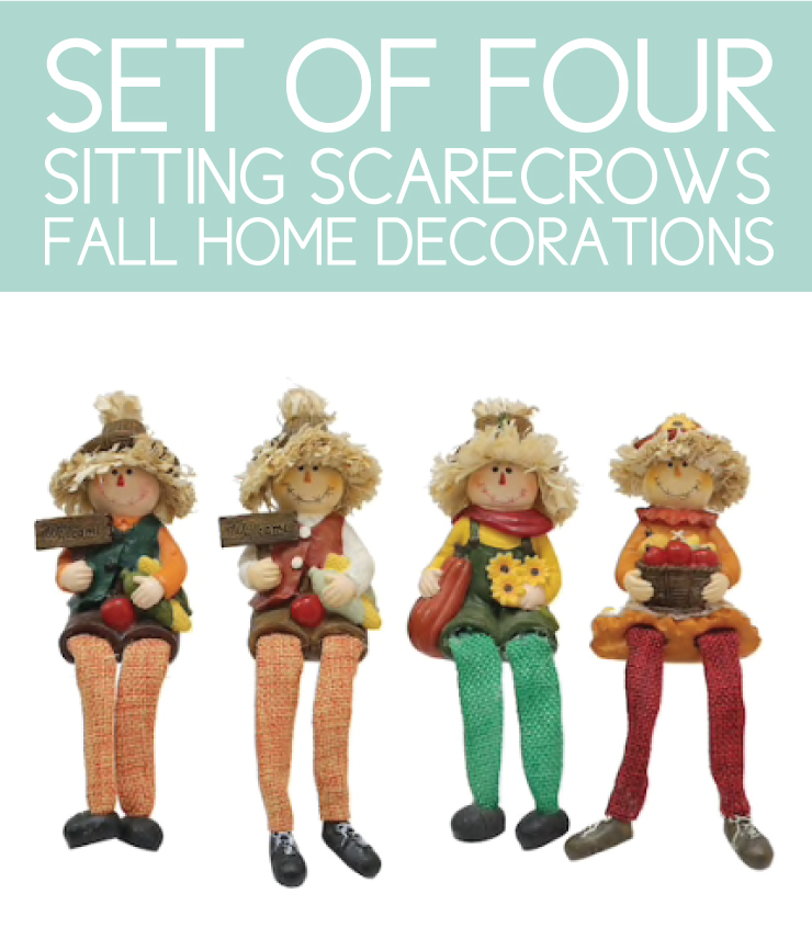 4 sitting scarecrows