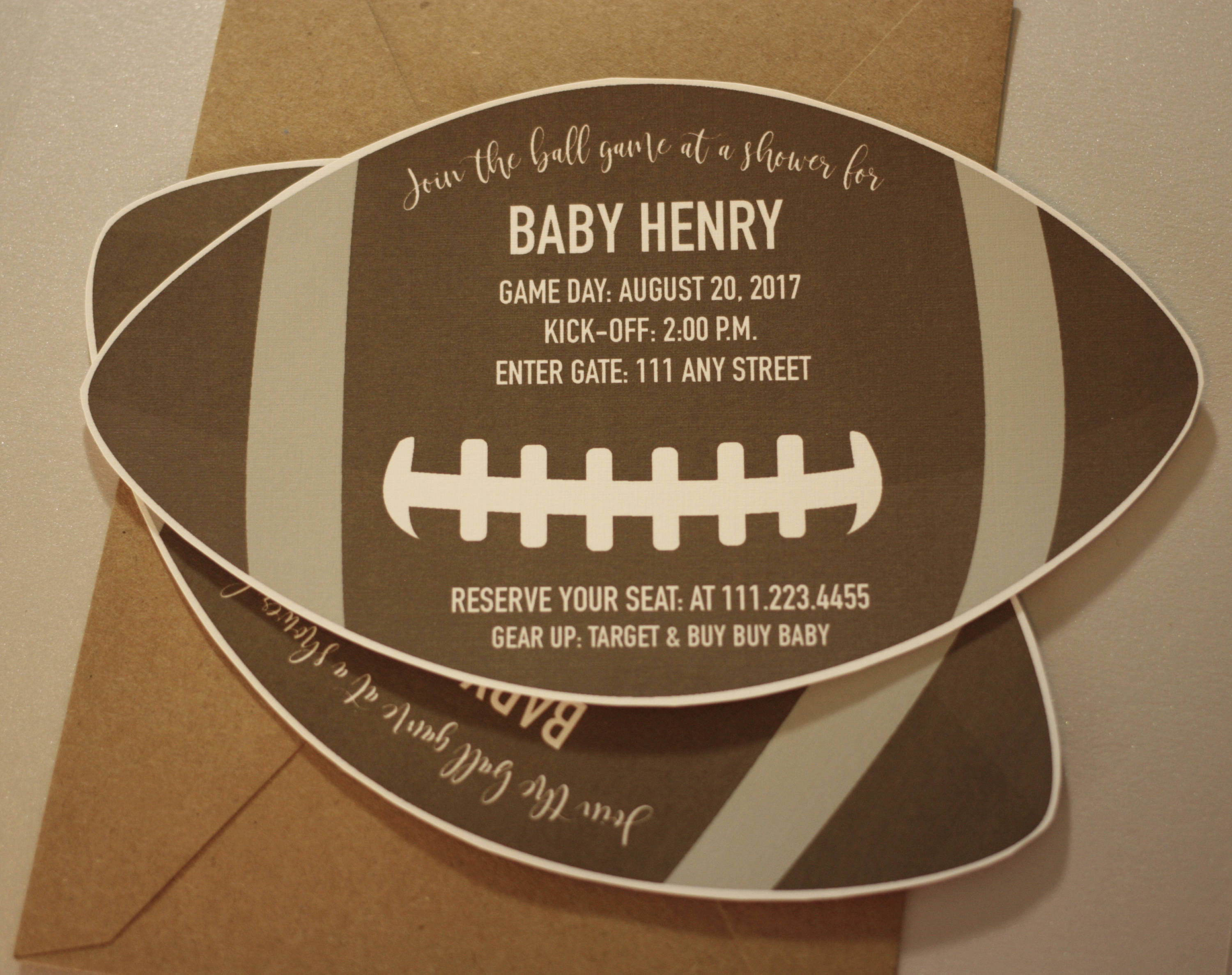Football Baby Shower Invitation With Envelopes   Printed Invites And Color  Envelopes   Football Shape Nvite
