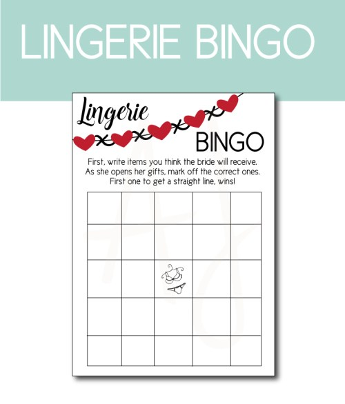 Lingerie BINGO for the Bridal Shower
