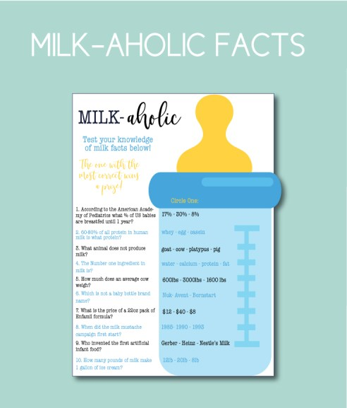 Milk-aholic Baby Shower Game
