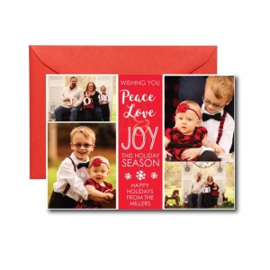 wishing you peace love and joy with a photo holiday card