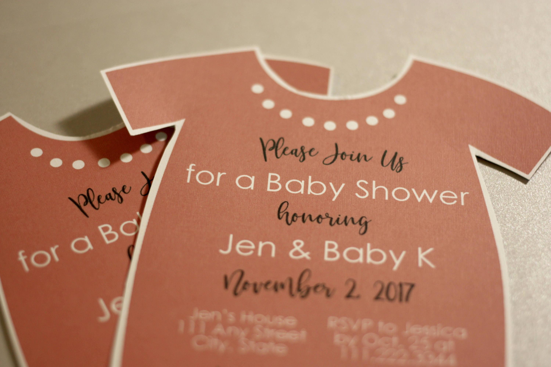 Onesie Baby Shower Invite In Pink + Envelopes