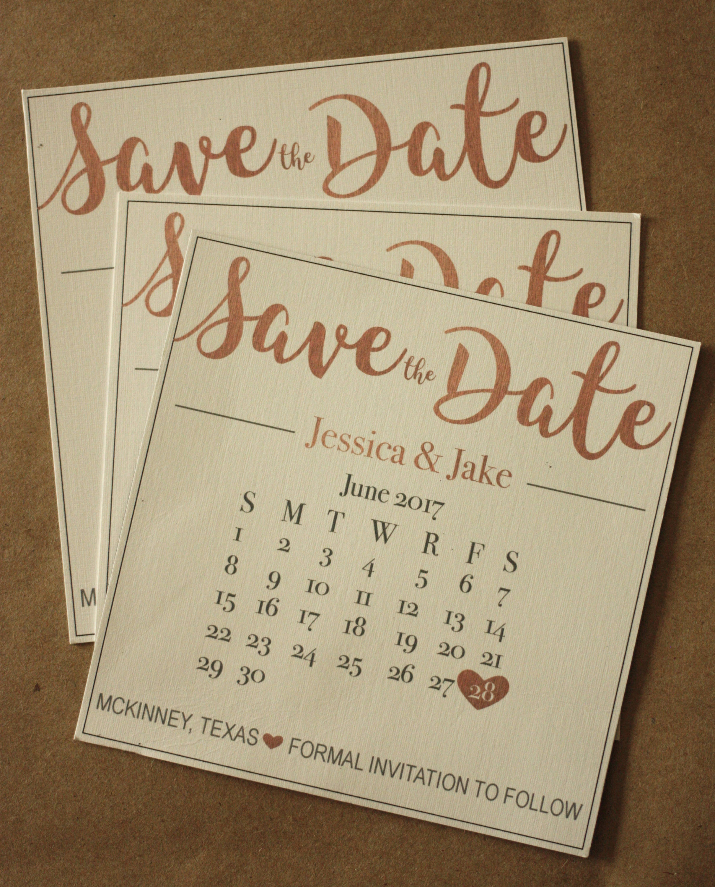 Rose Gold Magnet Or Card Save The Date Envelopes
