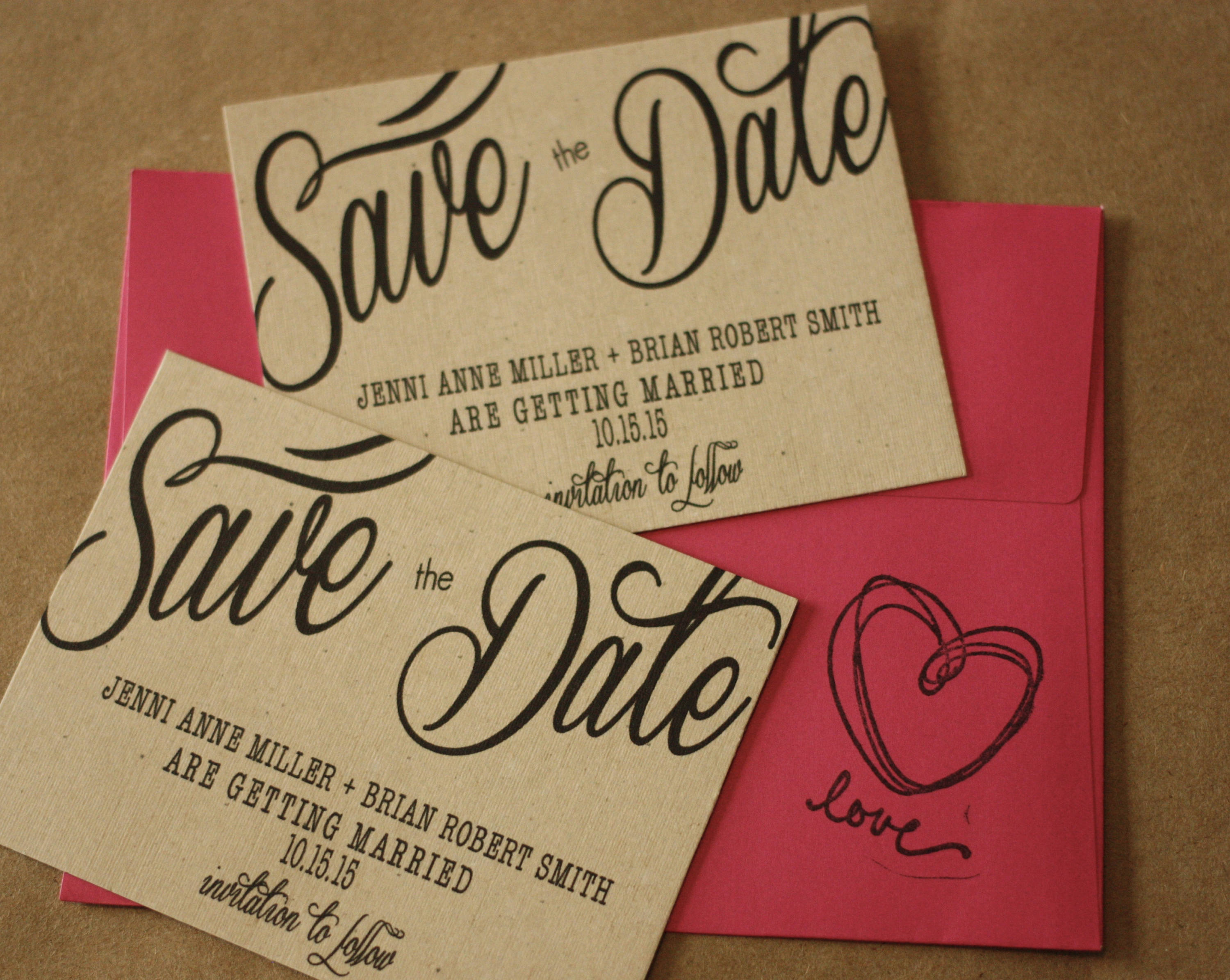 Rustic Cursive Save the Date Magnet + Envelopes -