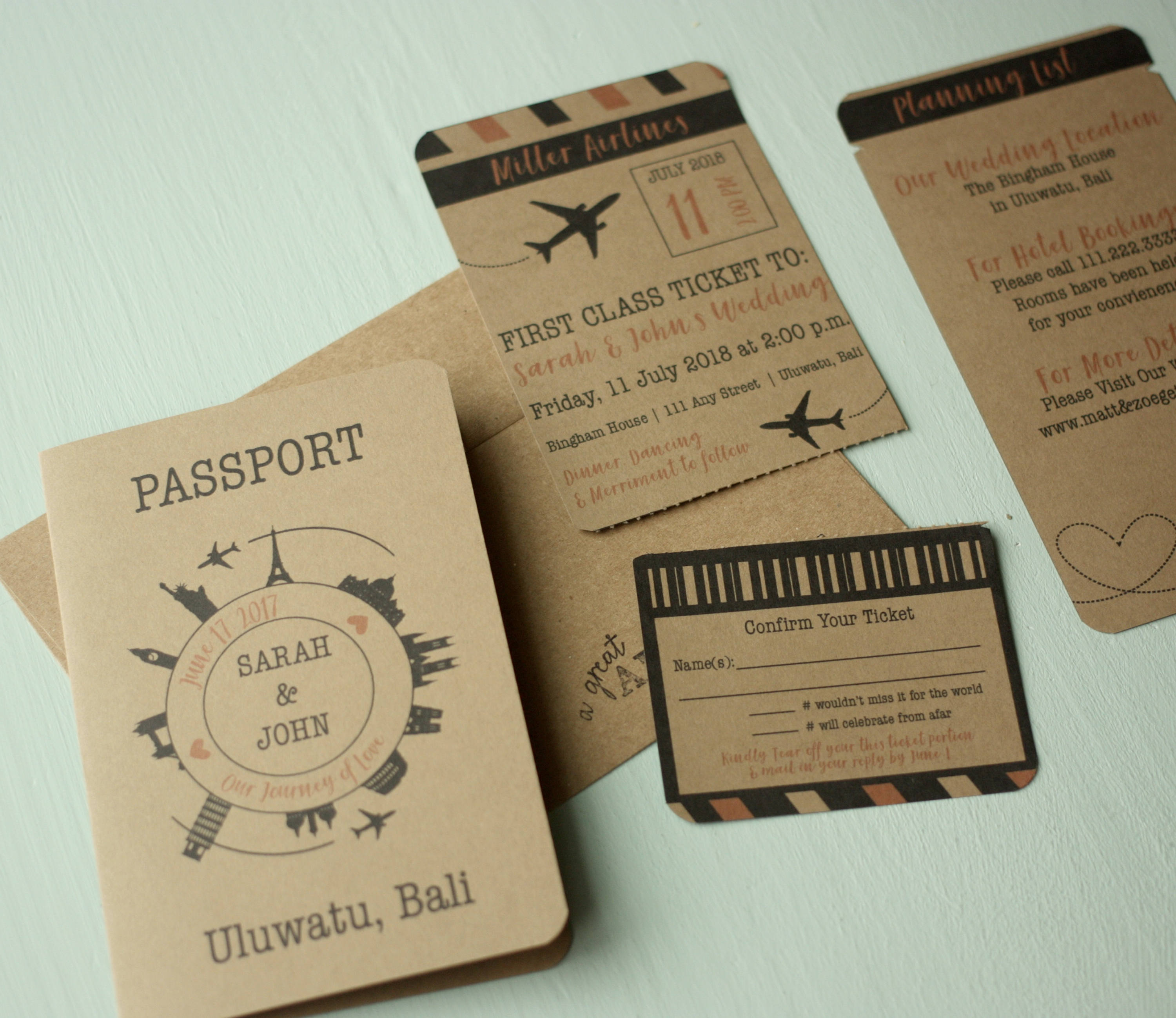 Rustic Travel Themed Invitation Suite Printed Wedding Invites With Rsvps Details Card