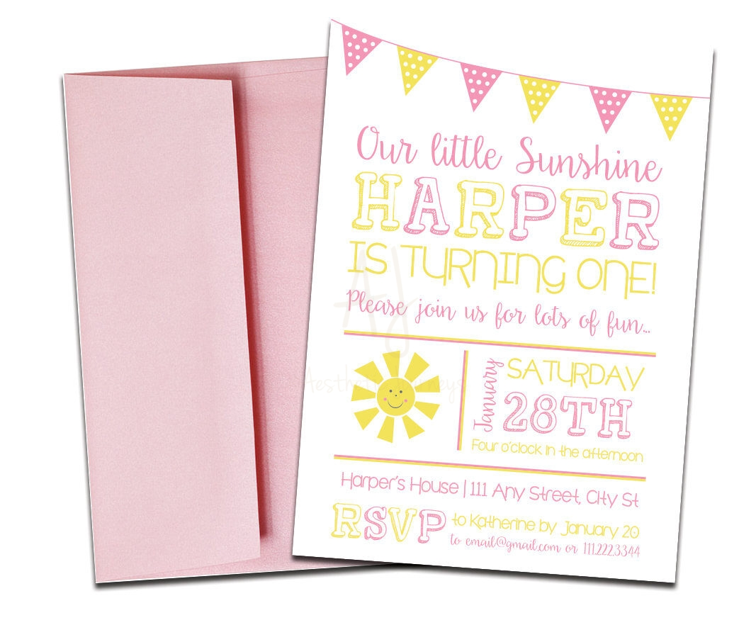 Sunshine themed invite for birthday envelopes sunshine themed party invitation with envelopes printed birthday invites and color envelopes custom colors stopboris Image collections