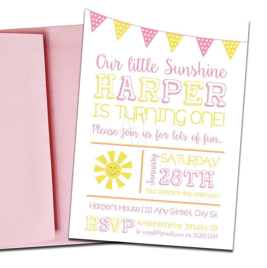 Sunshine themed invite for birthday envelopes sunshine themed party invitation with envelopes printed birthday invites and color envelopes custom colors stopboris Images
