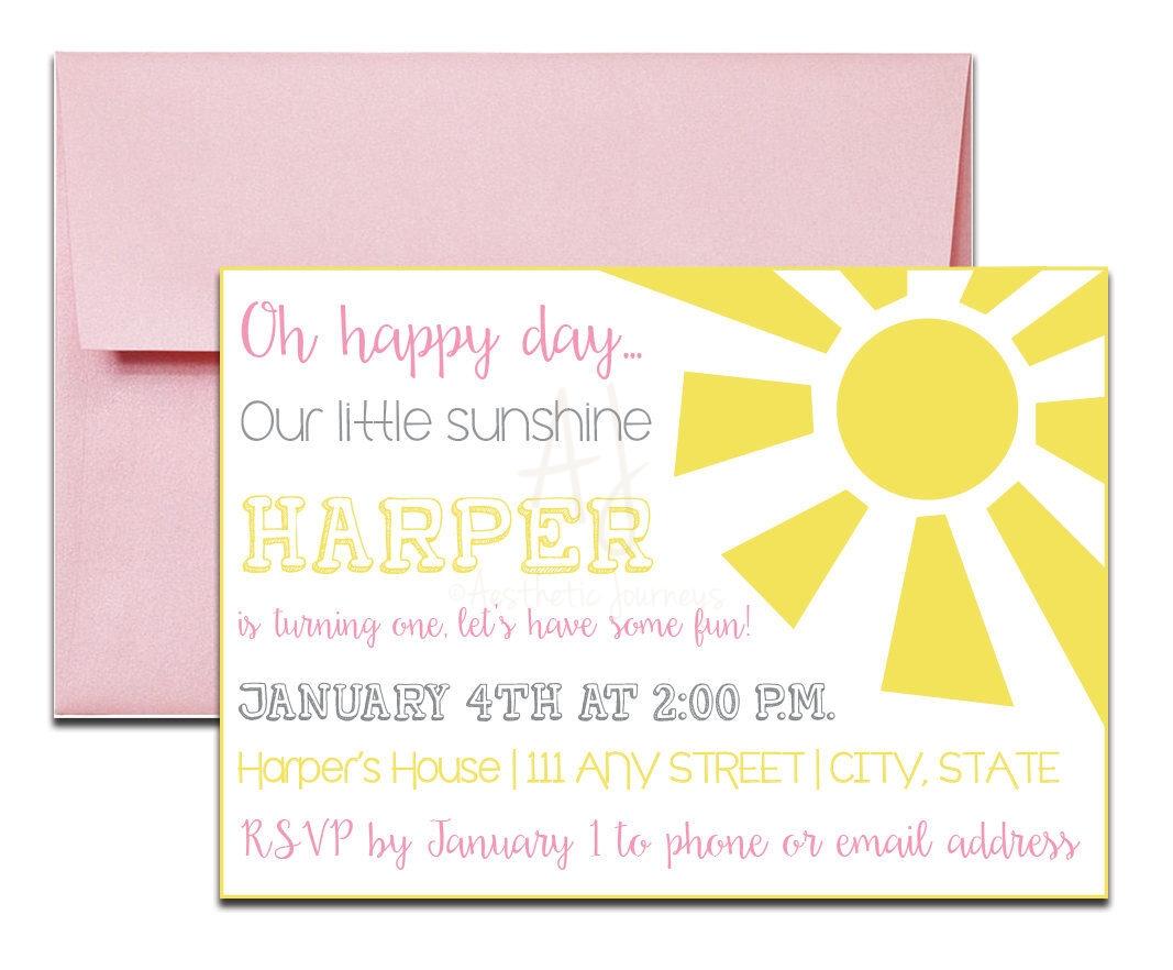 Pink Sunshine Invite for Birthday + Envelopes -