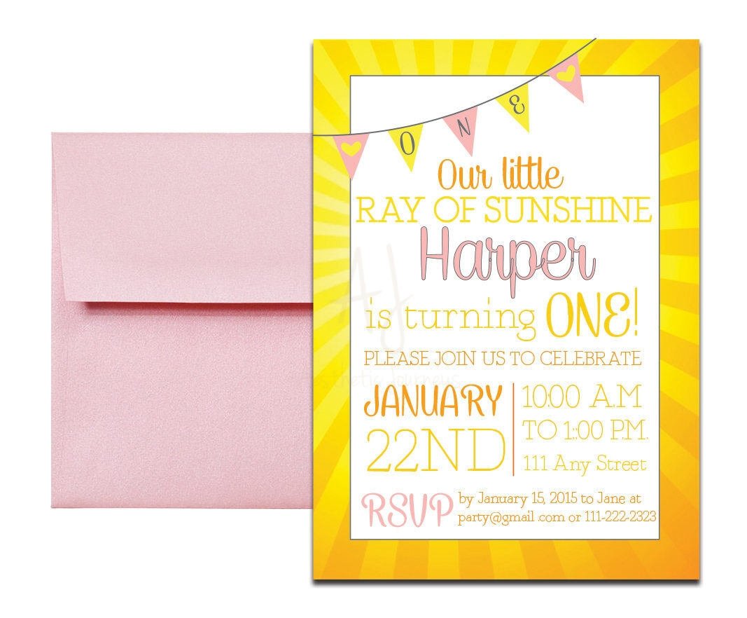 sunshine themed party invitation with envelopes printed birthday invites and color envelopes custom colors