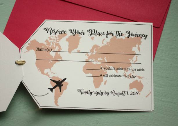 Tag Shaped Invitation Suite | Travel Themed or Destination Wedding Invites | Printed with RSVPs, Details Card, and Envelopes