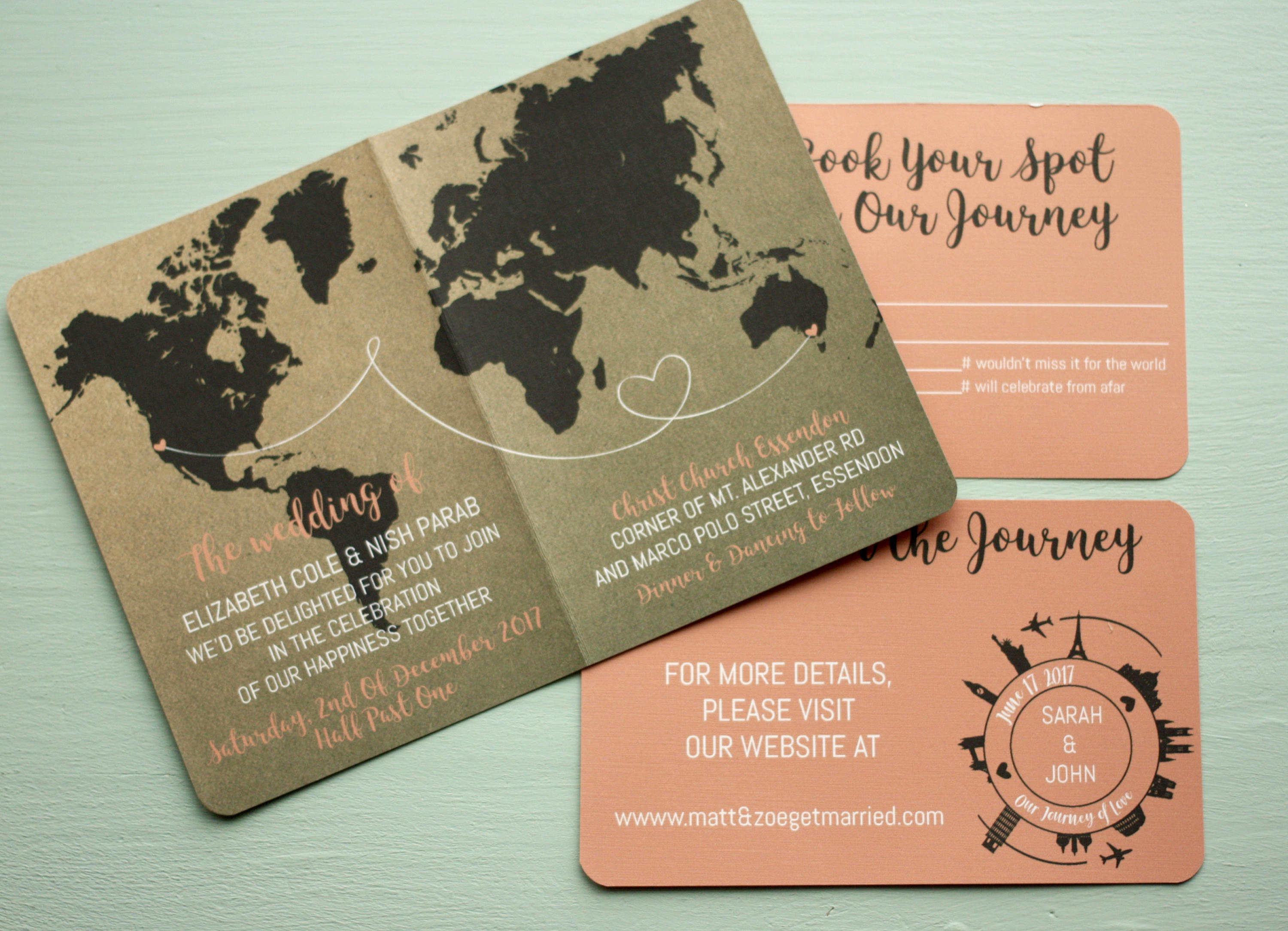 Passport Wedding Invite in Rustic Style + Envelopes -