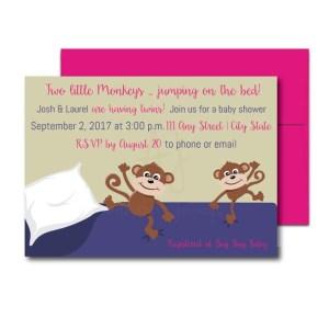 two little monkeys invite for twins