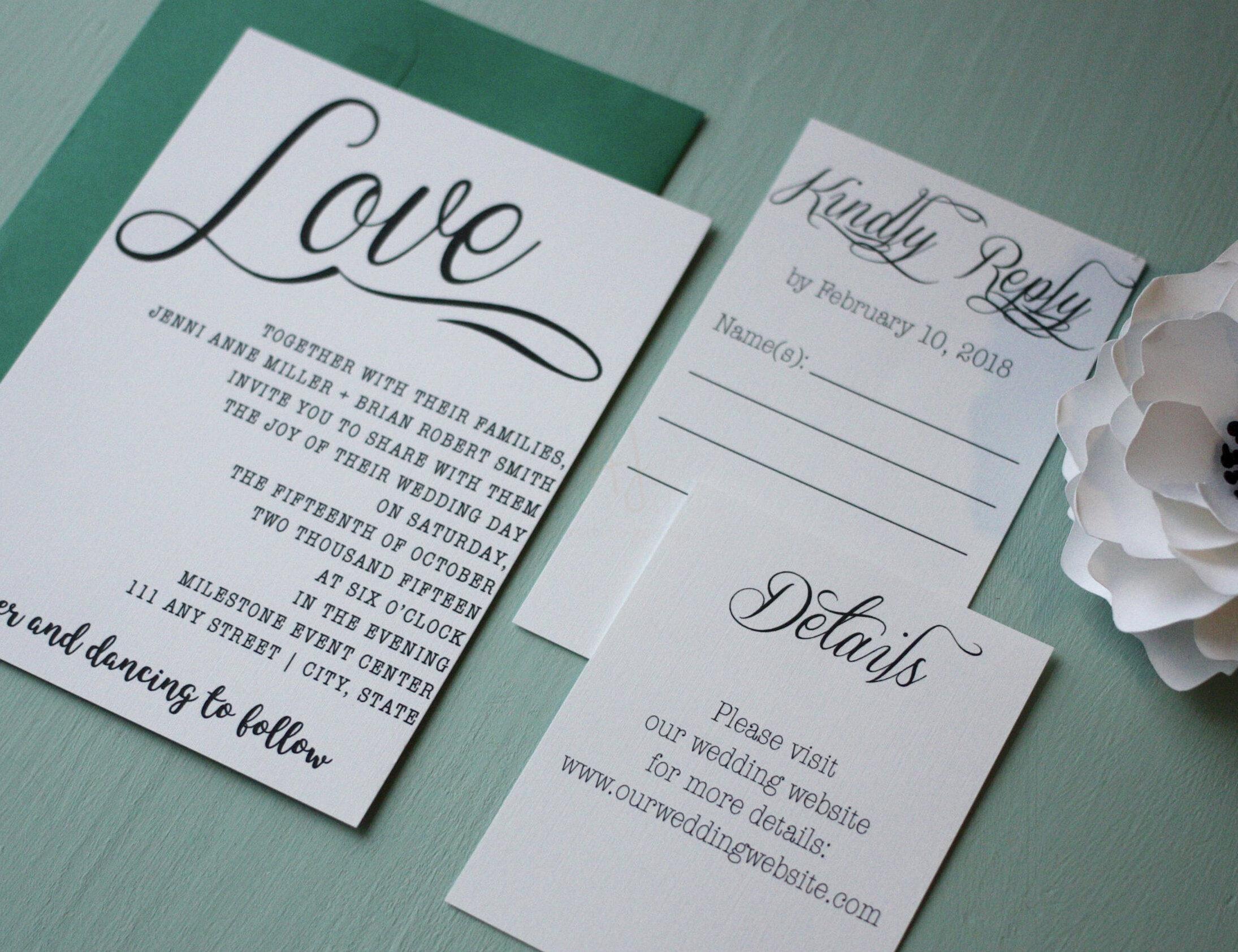 Cursive Wedding Invite Simple Style + Envelopes -
