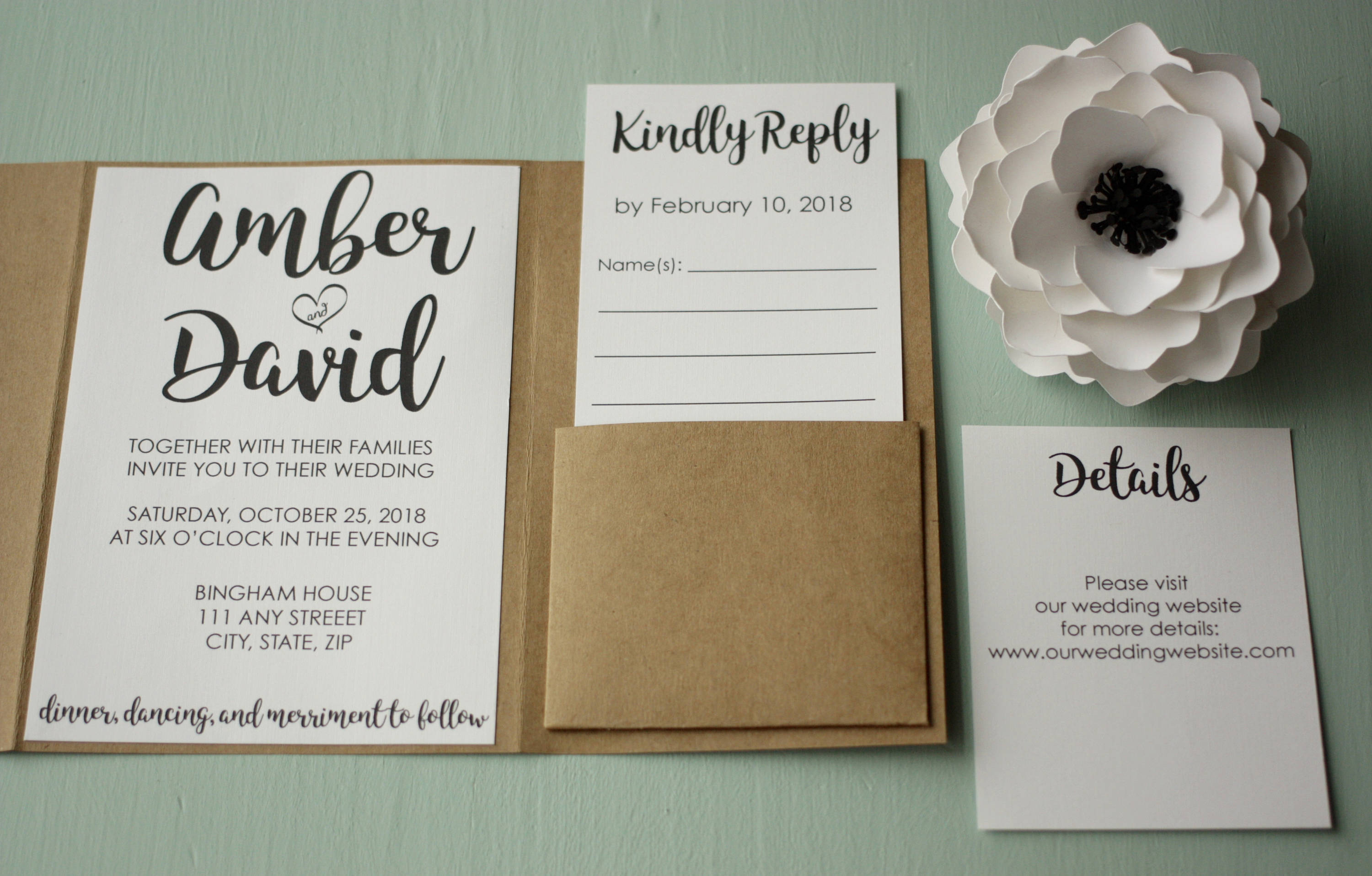 Wedding Invitation Suite With Pockets | Choose Your Pocket Color | Customized  Wedding Invites With RSVPs