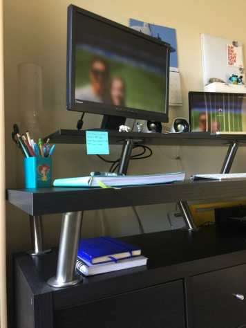 monitor stand of the ultimate standing desk and workstation with ikea parts