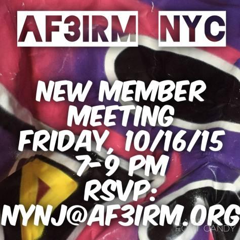 AF3IRM NYC New Member Meeting