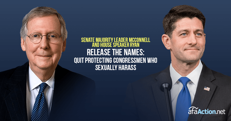 Tell Sen. McConnell and Speaker Ryan to quit protecting perverts in Congress