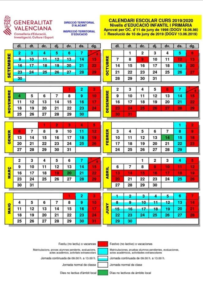 Calendario Escolar 2019 2020 Valencia.Calendario Escolar 2019 2020 Afa Ceip Vicente Blasco Ibanez De Elche