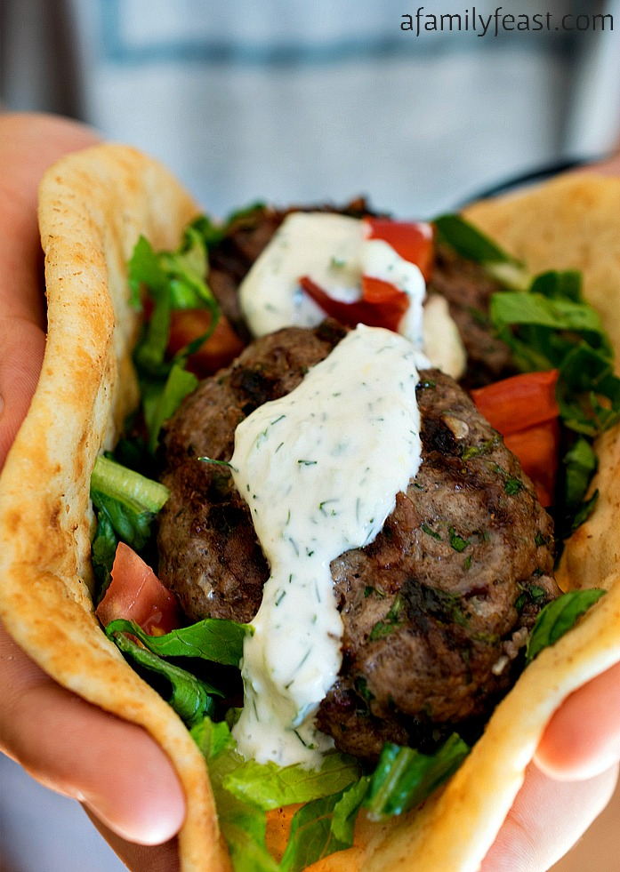 """Grilled Kofta Skewers Recipe   A Family Feast """"A super flavorful alternative for your next summer cookout. The grilled meat skewers are fantastic!"""""""