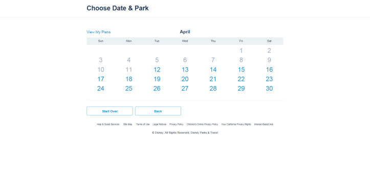 choose date and park
