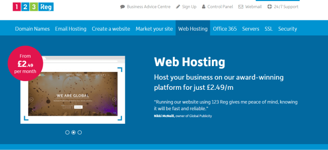 123-reg web hosting