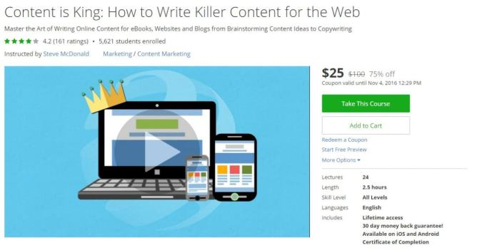 Best udemy courses for internet marketers entrepreneurs 2018 new 2 content is king how to write killer content for the web fandeluxe Choice Image