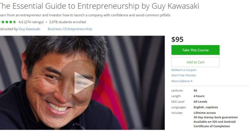 Udemy courses - The Essential Guide to Entrepreneurship by Guy Kawasaki