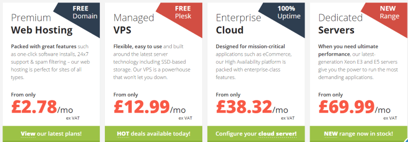 EUKhost pricing plans- Best Web Hosting Providers In UK