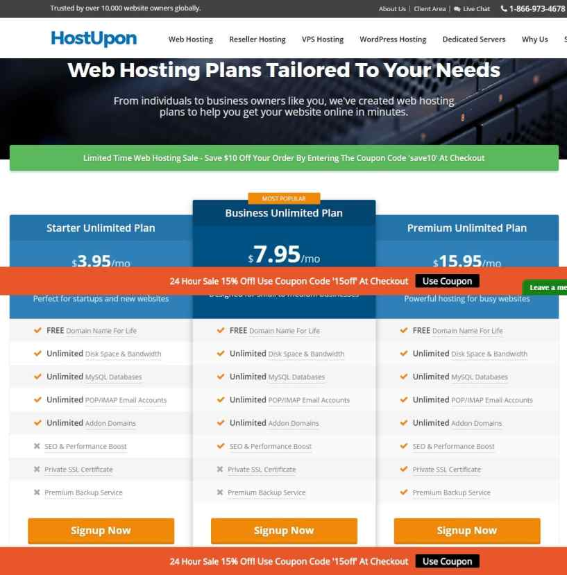 hostupon plans- Web Hosting Providers InCanada/Toronto