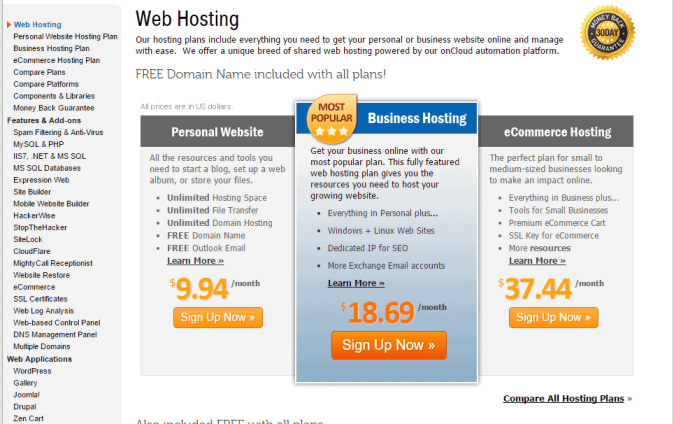 myhosting pricing plans