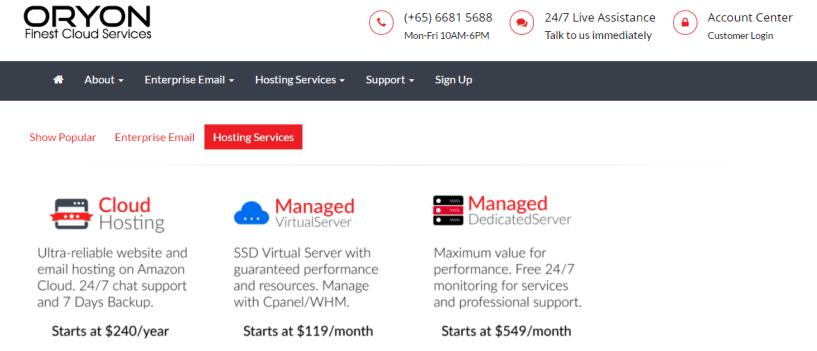 oryon hosting- BestWeb Hosting Service Providers In Singapore