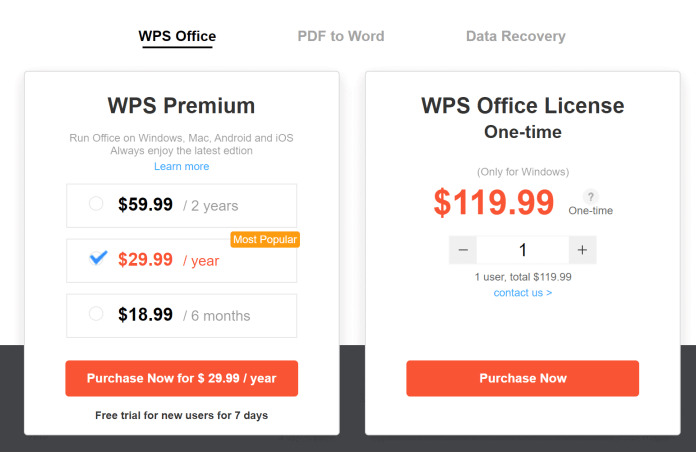 WPS Office pricing coupons