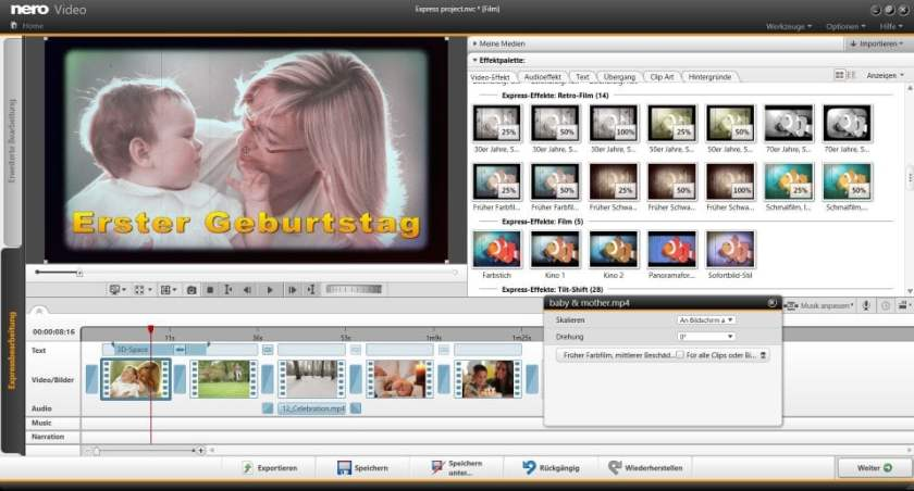 Nero video effects tool