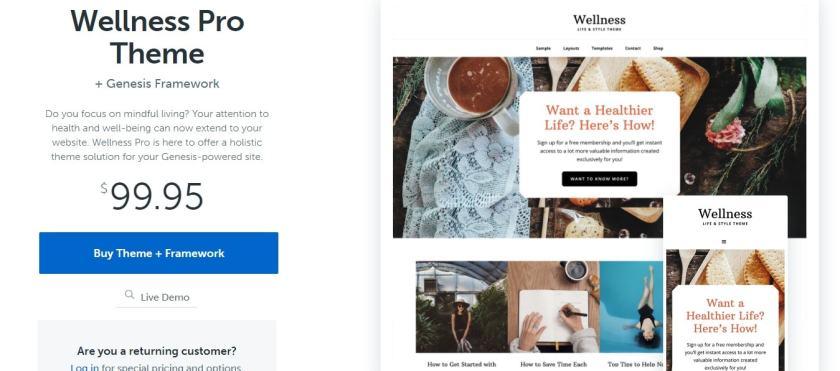 StudioPress wellness pro theme pricing