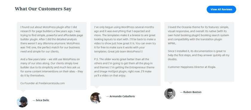 Customer review Motopress Coupons