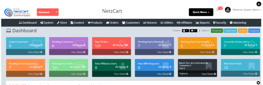 NetzCart Review With Discount Coupon Codes- Dashboard