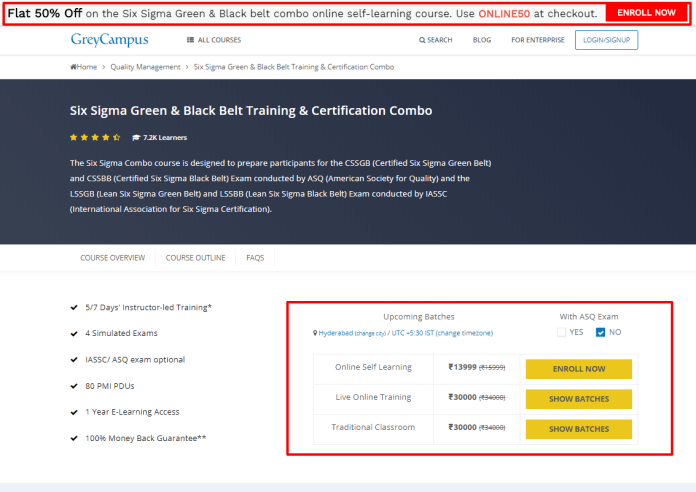 GreyCampus Coupon Codes- Six Sigma Green Black Belt Training