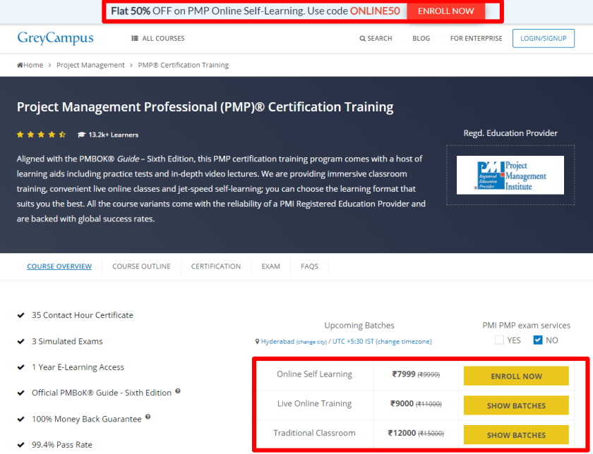 GreyCampus Review With Discount Coupon Codes- PMP Certification Training Course