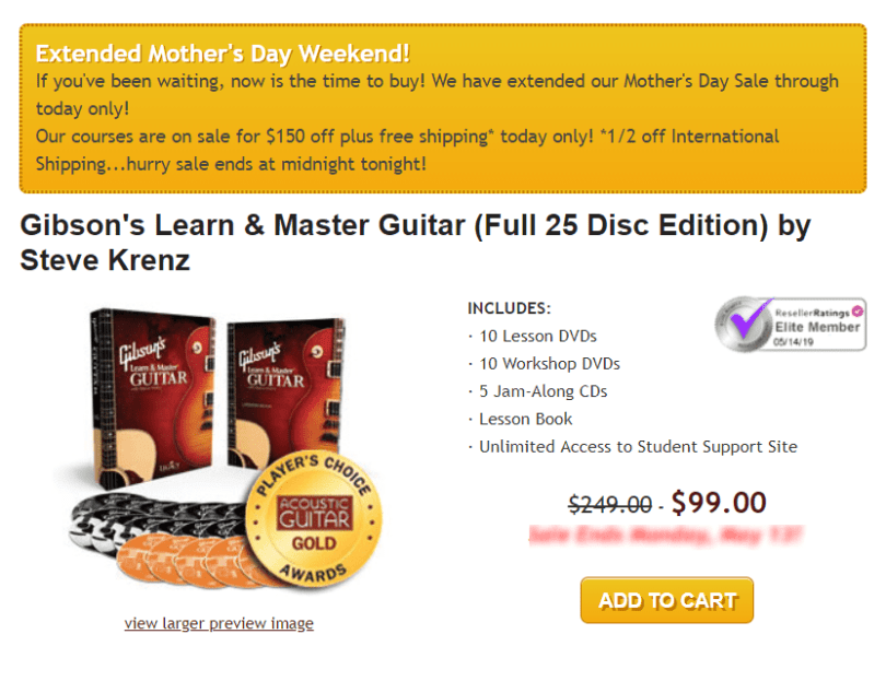 Learn & Master Courses Coupon Codes- Gibsons Guitar Class Pricing