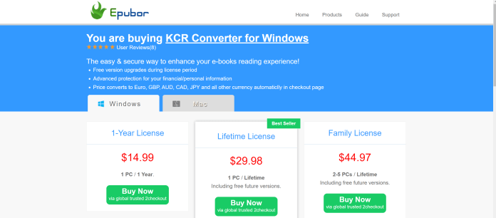 KCR Converter pricing with coupons