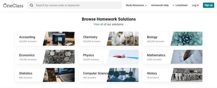 OneClass promo code - browse homework solutions
