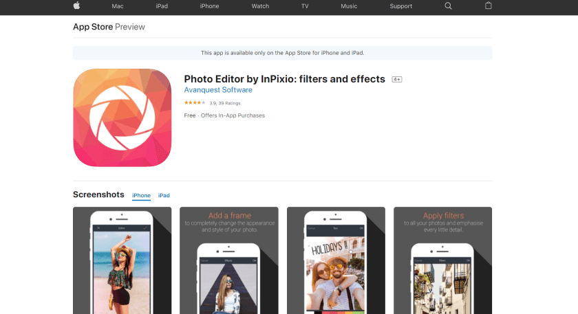 photo editor app by inpixio