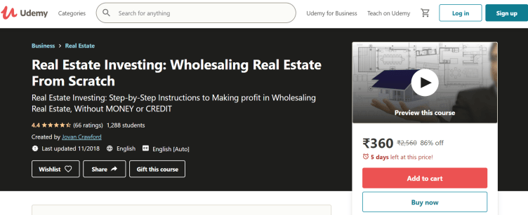 Real Estate Investing Courses- Wholesaling Real Estate from Scratch