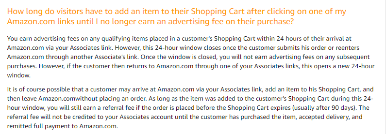 Amazon Associates Cookie Duration Policy